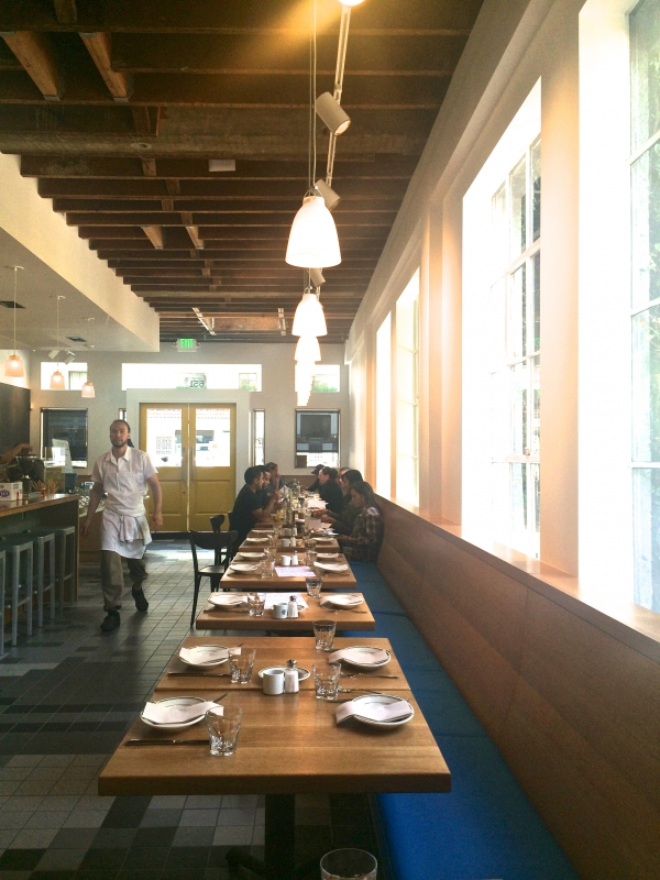 Above A Line Of Indoor Tables At Pizzeria Delfina The