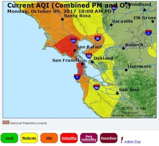 Northbay Fire Map.Air District Issues Smoke Advisory After North Bay Fires News